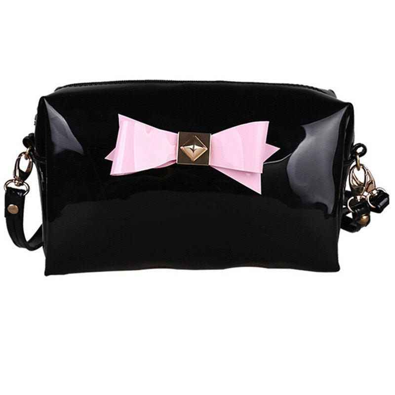 Bow Bright Patent Leather Jelly Makeup Storage Bag - BLACK