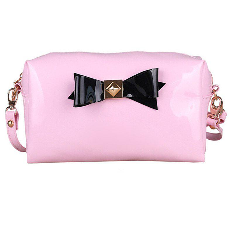 Bow Bright Patent Leather Jelly Makeup Storage Bag - BLUSH PINK
