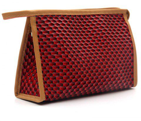 Large Capacity Snake Triangle Cosmetic Bag - CRANBERRY