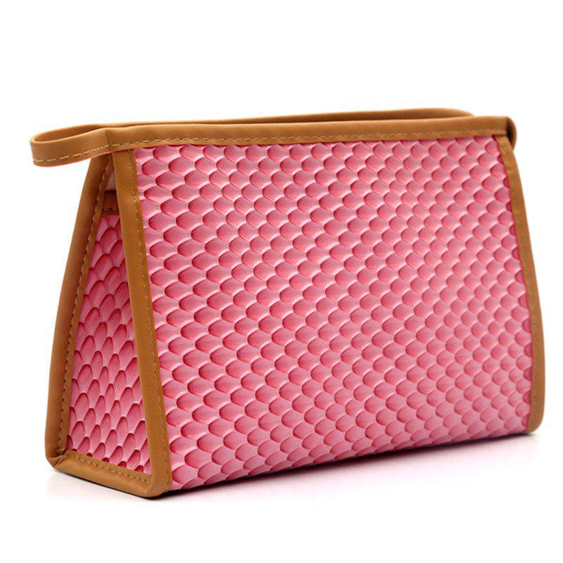 Large Capacity Snake Triangle Cosmetic Bag - CARNATION PINK