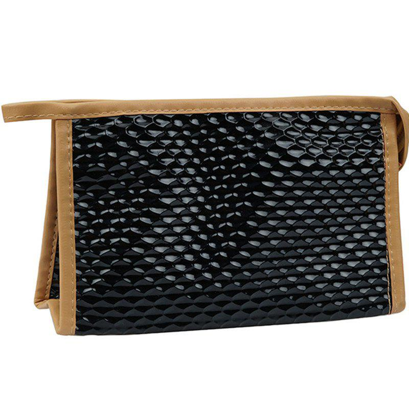 Large Capacity Snake Triangle Cosmetic Bag - BLACK