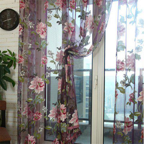 Large Peony Pattern Home Bedroom Living Room Balcony Window Screening - VIOLET