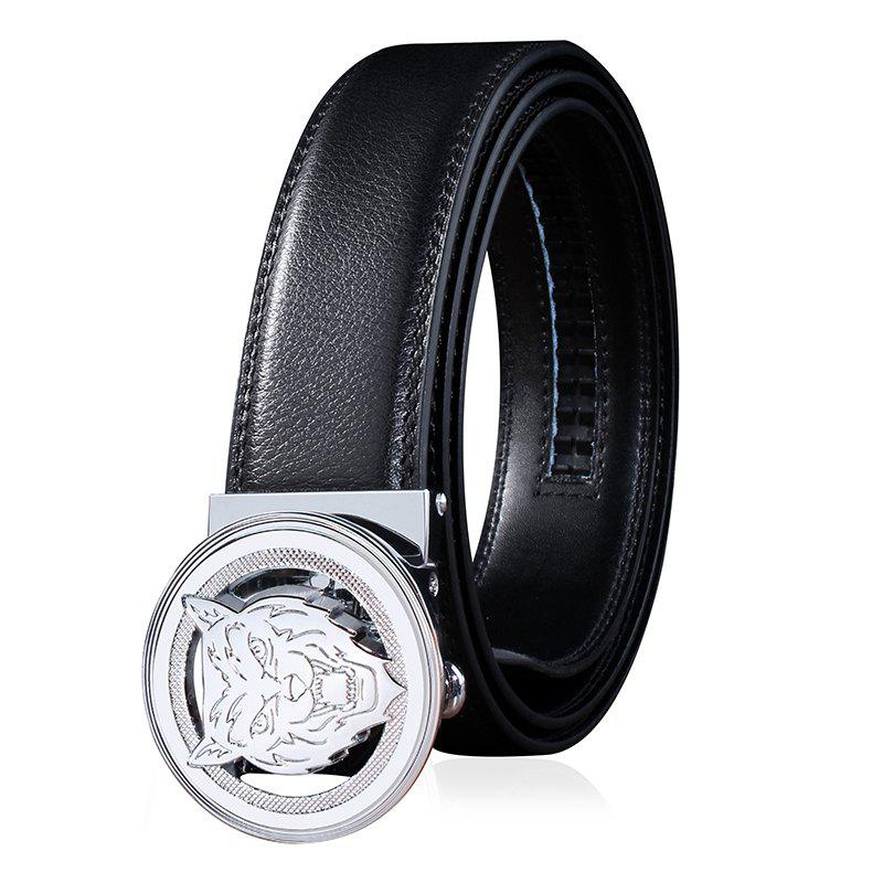 ZHAXIN 3008 Animal Pattern Round Clasp Man Automatic Belt - BLACK 120CM