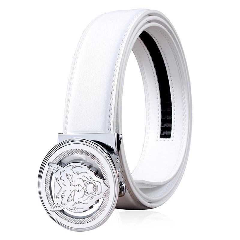 ZHAXIN 3008 Animal Pattern Round Clasp Man Automatic Belt - WHITE 115CM