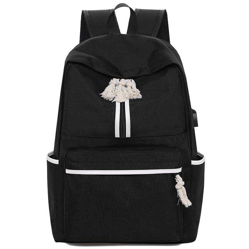 Canvas Campus Simple Men and Women Backpack - BLACK