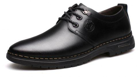 Outdoor Business Formal Wedding Leather Lace Up Men Causal Shoes - BLACK 44