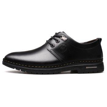 Outdoor Business Formal Wedding Leather Lace Up Men Causal Shoes - BLACK 40