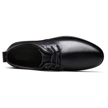 Outdoor Business Formal Wedding Leather Lace Up Men Causal Shoes - BLACK 41