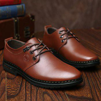 Outdoor Business Formal Wedding Leather Lace Up Men Causal Shoes - BROWN 44