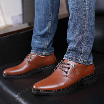 Outdoor Business Formal Wedding Leather Lace Up Men Causal Shoes - BROWN 41