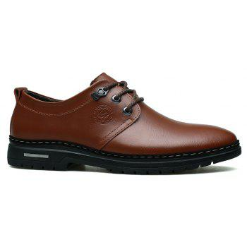 Outdoor Business Formal Wedding Leather Lace Up Men Causal Shoes - BROWN 43