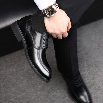 Men Cow Leather Gentle Wedding Dress Offical Business Shoes - BLACK 42