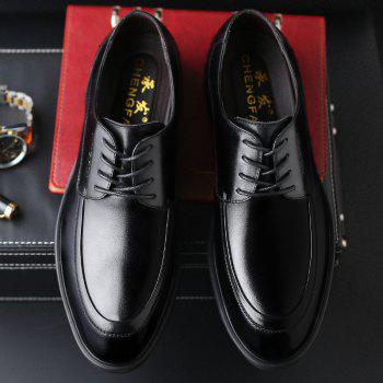 Men Cow Leather Gentle Wedding Dress Offical Business Shoes - BLACK 38