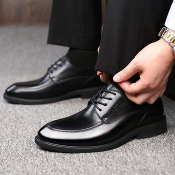 Men Cow Leather Gentle Wedding Dress Offical Business Shoes - BLACK 41