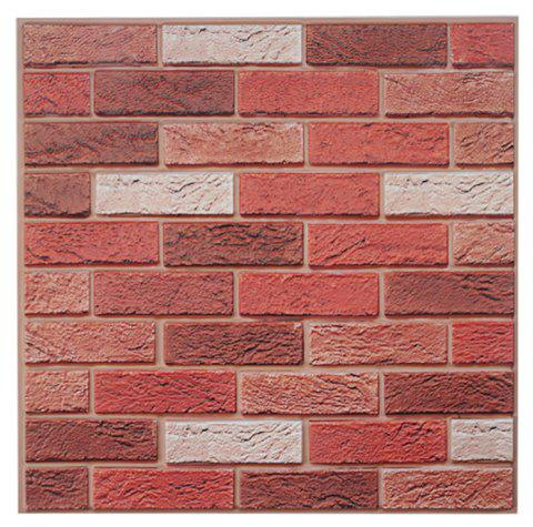2019 3d three-dimensional retro brick wall stickers in chestnut red