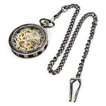 Lucky Family JX006 Double-Sided Hollow-Out Mechanical Pocket Watch - SAGE GREEN