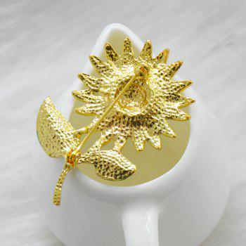 Crystal Sunflower Brooches Lapel Pins For Women Corsage Scarf Dress Decoration - GOLD