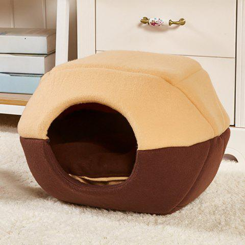 Removable Pet House Yurts Warm Cat Dog Sleeping Sofa Fold - BROWN SIZE L