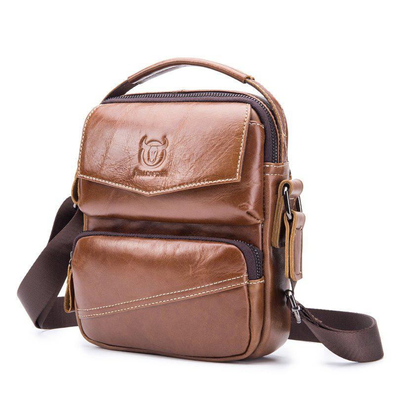 Mens Leather Shoulder Messenger Bag Hand Titus Function - BROWN