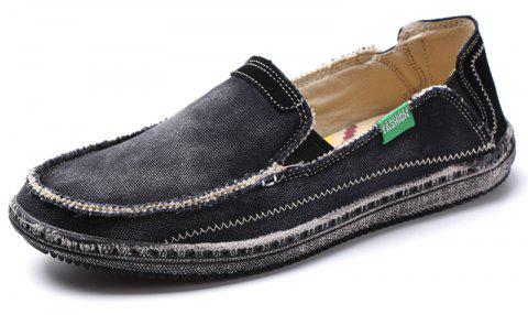 8a40ff94ea3b8b Canvas Men Loafers Summer Slip on Leisure Hiking Casual Beach Sport Sneakers  - BLACK 40