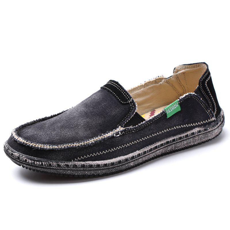 Canvas Men Loafers Summer Slip on Leisure Hiking Casual Beach Sport Sneakers - BLACK 46