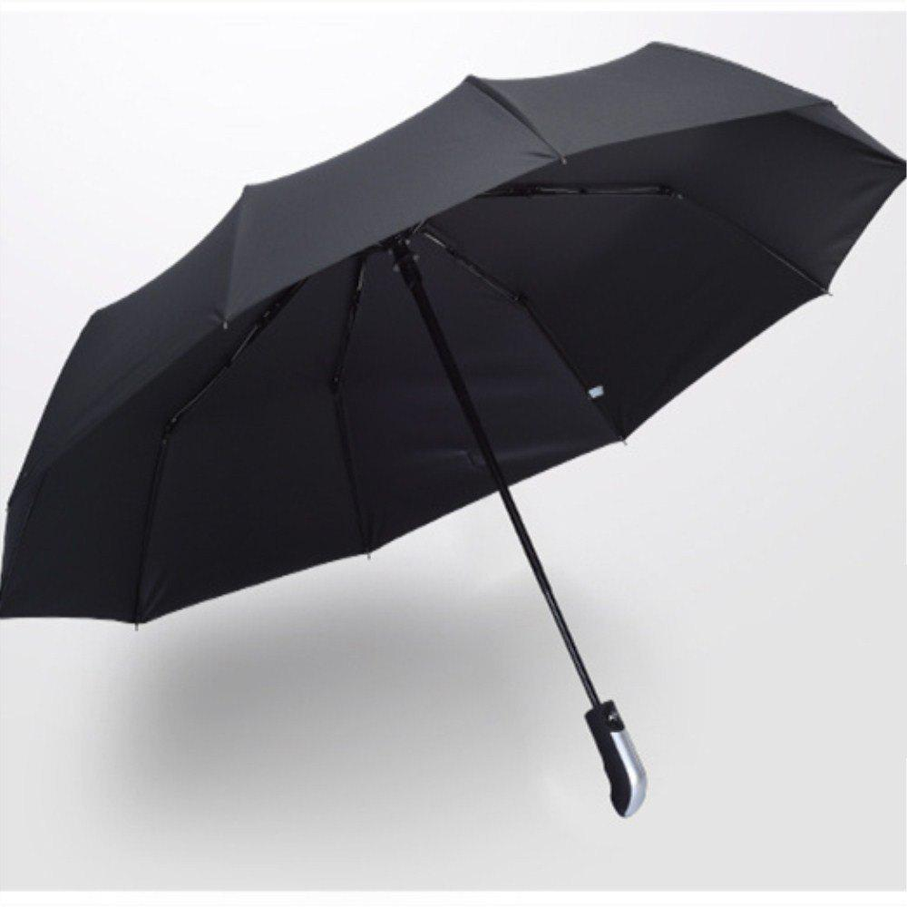 Black Glue Pure Color Anti Wind Automatic Thickening Umbrella - BLACK