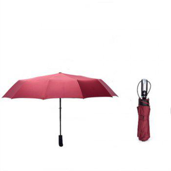 Red Black Glue Pure Color Anti Wind Automatic Thickening Umbrella - RED WINE
