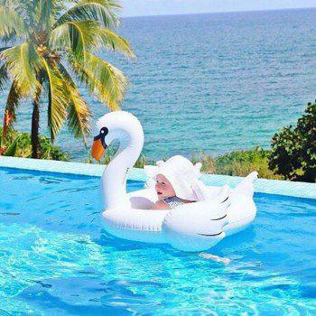 Children Inflatable Swan Swimming Ring - WHITE