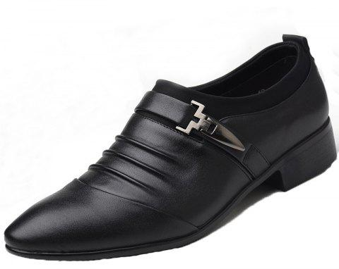 Men New Trend for Fashion Outdoor Walking Black Leather Business Shoes - BLACK 47