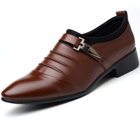 Men New Trend for Fashion Outdoor Walking Black Leather Business Shoes - DEEP BROWN 44