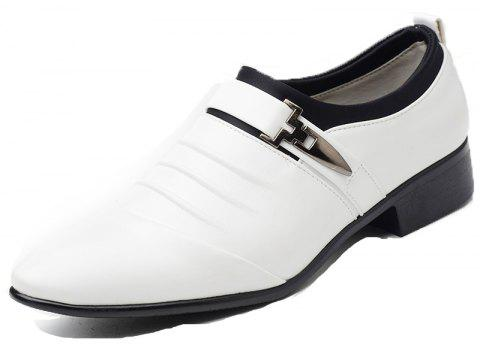Men New Trend for Fashion Outdoor Walking Black Leather Business Shoes - WHITE 46