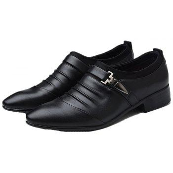 Men New Trend for Fashion Outdoor Walking Black Leather Business Shoes - BLACK 42