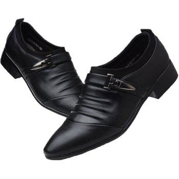 Men New Trend for Fashion Outdoor Walking Black Leather Business Shoes - BLACK 38
