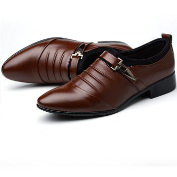 Men New Trend for Fashion Outdoor Walking Black Leather Business Shoes - DEEP BROWN 47