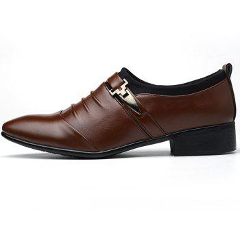 Men New Trend for Fashion Outdoor Walking Black Leather Business Shoes - DEEP BROWN 46