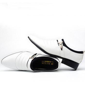 Men New Trend for Fashion Outdoor Walking Black Leather Business Shoes - WHITE 42