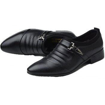 Men New Trend for Fashion Outdoor Walking Black Leather Business Shoes - BLACK 40