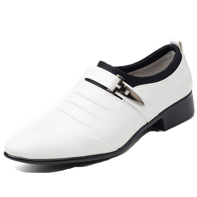Men New Trend for Fashion Outdoor Walking Black Leather Business Shoes - WHITE 41