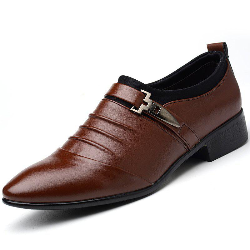 Men New Trend for Fashion Outdoor Walking Black Leather Business Shoes - DEEP BROWN 40
