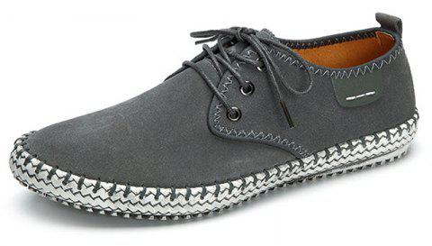 Large Size Men Suede Stitching Soft Sole Outdoor Sport Casual Shoes - GRAY 42
