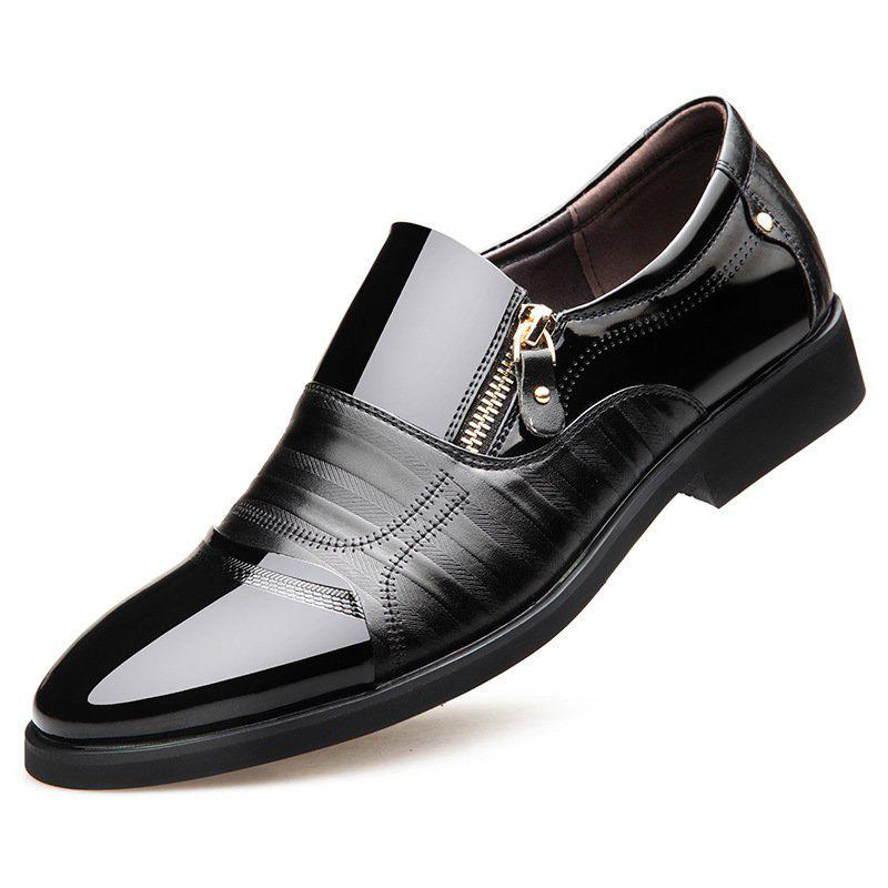 Men Color Blocking Side Zipper Pointed Toe Formal Dress Shoes buckle strap mens cow genuine leather pointed toe new fashion formal shoes male dress shoes chaussures hommes en cuir black red