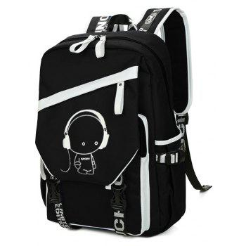 Fashion Personality Large-capacity Printing Backpack - BLACK