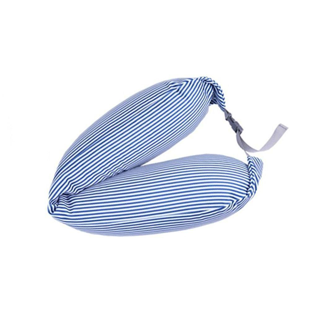 Micro Particle Multi Function Long Neck Travel Cushion Nap Pillow - WINDOWS BLUE