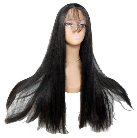 Black Long Straight Hair Chemical Fiber Front Lace Wig - BLACK 24INCH