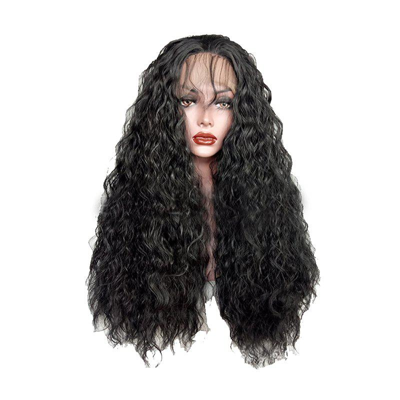 Black Small Roll Chemical Fiber Front Lace Wig - BLACK 20INCH
