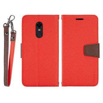 MUXMA Cover Case for Redmi 5 Twill Leather - RED