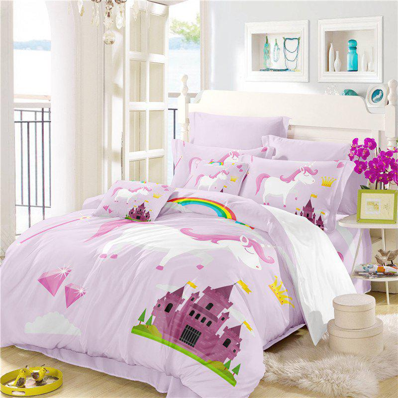 Attractive 2018 3D Series Cartoon Animation Unicorn Rainbow Bedding Set AS48  BI72