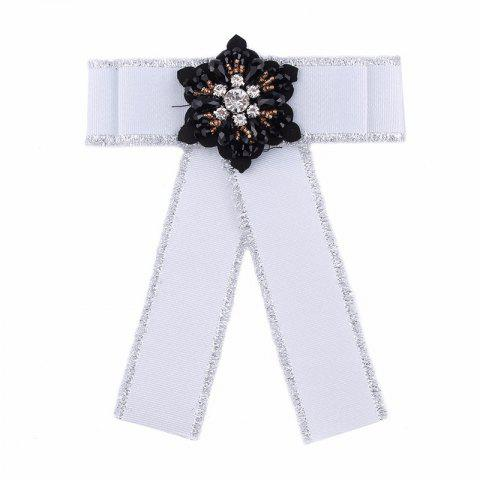 European and American Fashion Silk Flowers Bow Brooch Women Adorn Article - WHITE