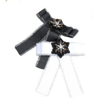 European and American Fashion Silk Flowers Bow Brooch Women Adorn Article - BLACK