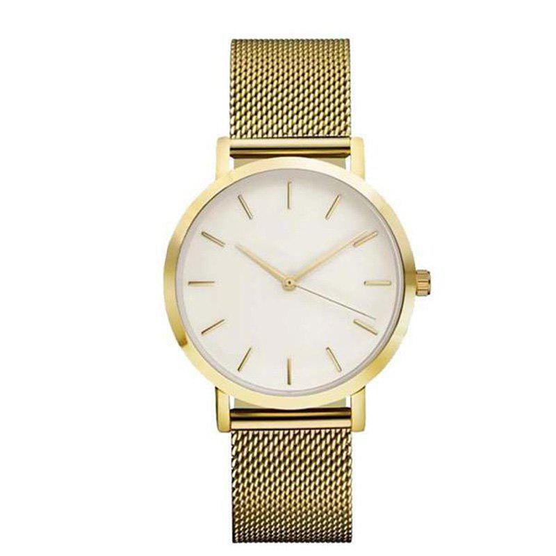 ZhouLianFa Stylish Steel Mesh Quartz Watch - GOLD